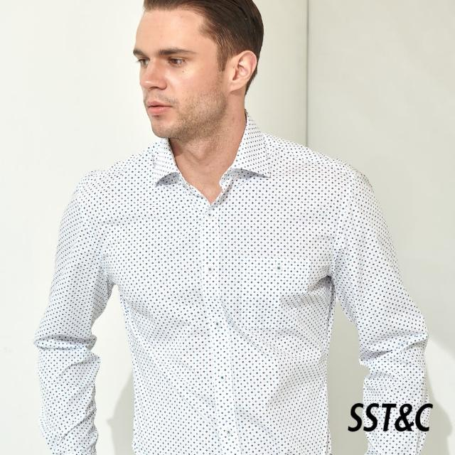 【SST&C】藍色菱形印花經典款長袖襯衫0312103025
