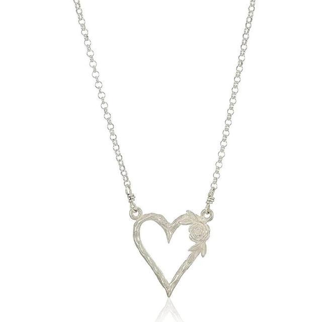 【Dogeared】玫瑰花鏤空愛心墜銀項鍊