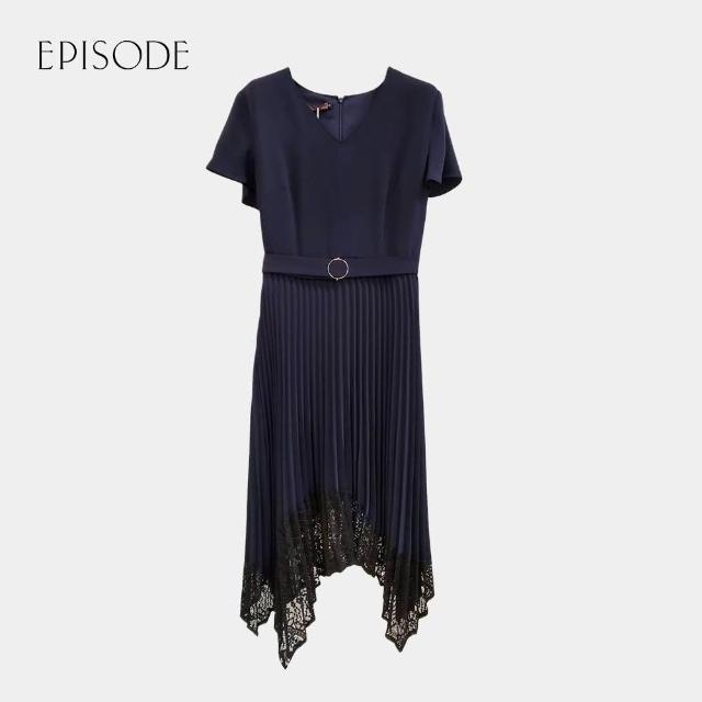 【EPISODE】遮肉顯瘦V領短袖雪紡拼接蕾絲洋裝(深藍)
