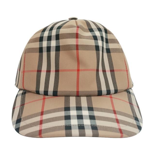 【BURBERRY 巴寶莉】BURBERRY VINTAGE白字LOGO經典格紋帆布棒球帽(米)