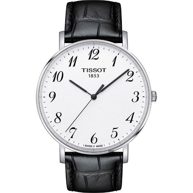 【TISSOT 天梭】Everytime 經典雋永石英手錶-銀x黑/42mm(T1096101603200)