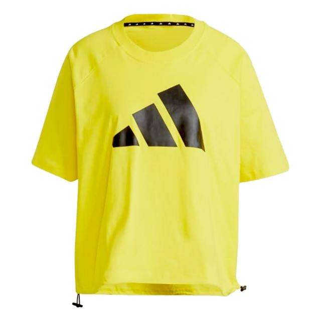 【adidas 愛迪達】Adidas W ST LOGO TEE 女款黃色休閒短袖上衣 GL9508