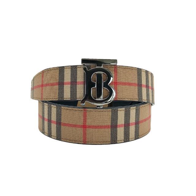 【BURBERRY 巴寶莉】新款TB銀扣復古格紋雙面用腰帶(米色)