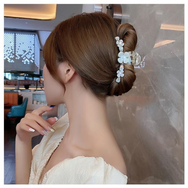 【HaNA 梨花】韓國貝殼光澤玉之花朵.透明立體抓夾