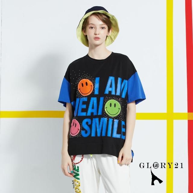 【GLORY21】新品-SMILE休閒T恤上衣(藍色)