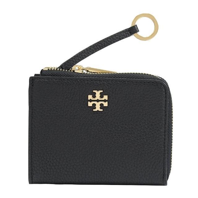 【TORY BURCH】品牌字母雙T LOGO荔枝牛皮鑰匙圈零錢包(黑)