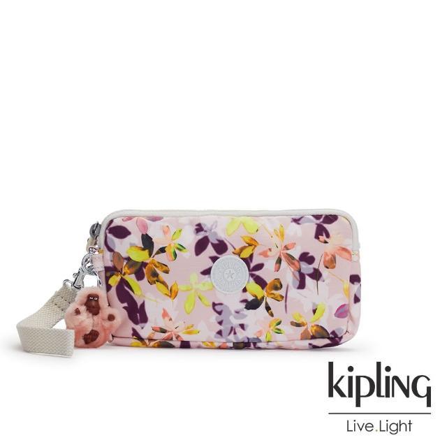【KIPLING】飄零落花粉手拿包-LOWIE