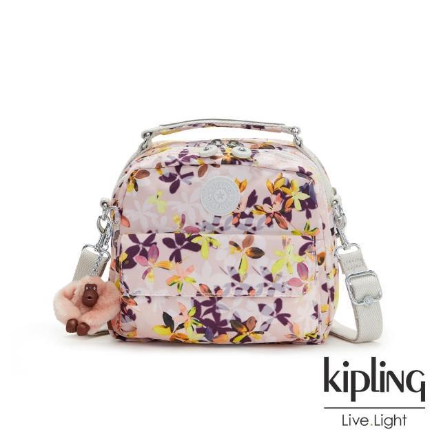 【KIPLING】飄零落花粉兩用側背後背包-CANDY
