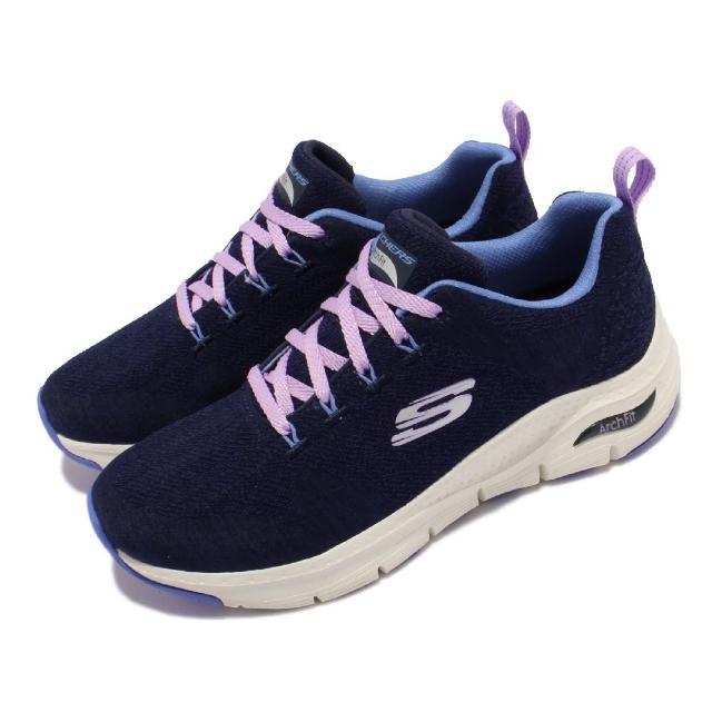 【SKECHERS】休閒鞋 Arch Fit-Comfy Wave 女鞋 郊遊 健走 專利鞋墊 緩震 支撐 回彈 藍 白(149414-NVBL)