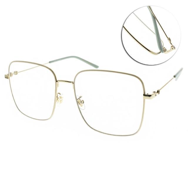 【GUCCI 古馳】光學眼鏡 金屬方框款(白金-淡青#GG0445O 004)