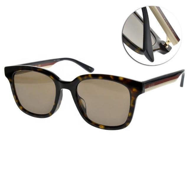 【GUCCI 古馳】太陽眼鏡 雙色鏡腳方框款(琥珀棕-棕鏡片#GG0847SK 003)