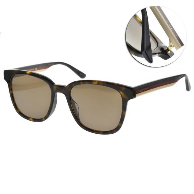 【GUCCI 古馳】太陽眼鏡 雙色鏡腳方框款(琥珀棕-棕鏡片#GG0848SK 003)