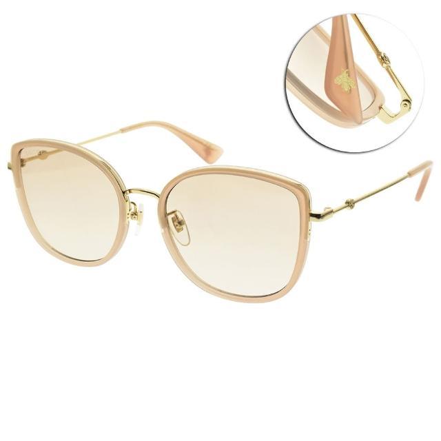 【GUCCI 古馳】太陽眼鏡 時尚貓眼大框款(粉膚-金-粉鏡片 #GG0606SK 004)