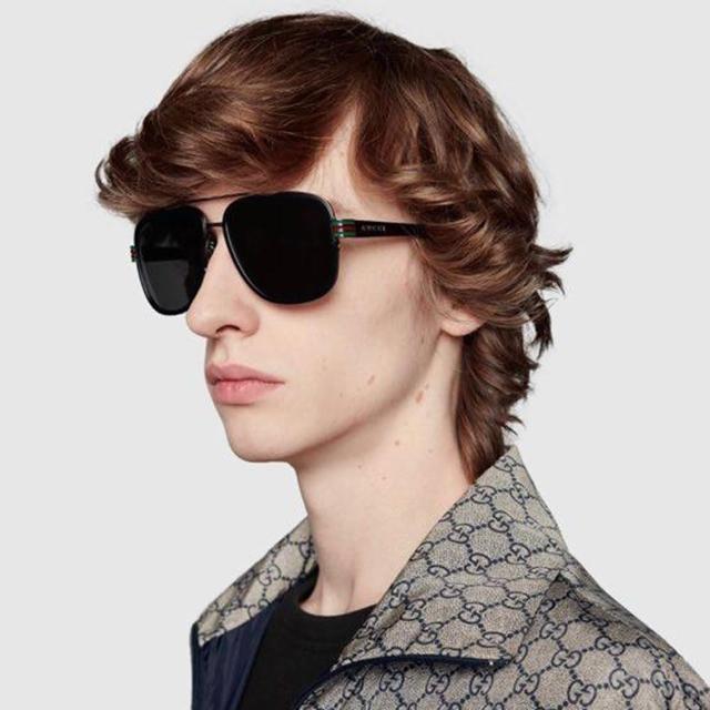 【GUCCI 古馳】太陽眼鏡 復古雙槓大框款(黑-灰鏡片 #GG0448S 001)