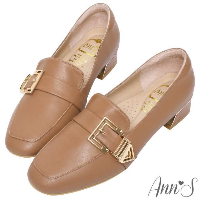 【Ann'S】鏤空造型金扣頂級綿羊皮平底紳士鞋3cm(棕)