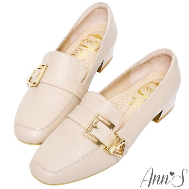 【Ann'S】鏤空造型金扣頂級綿羊皮平底紳士鞋3cm(粉)
