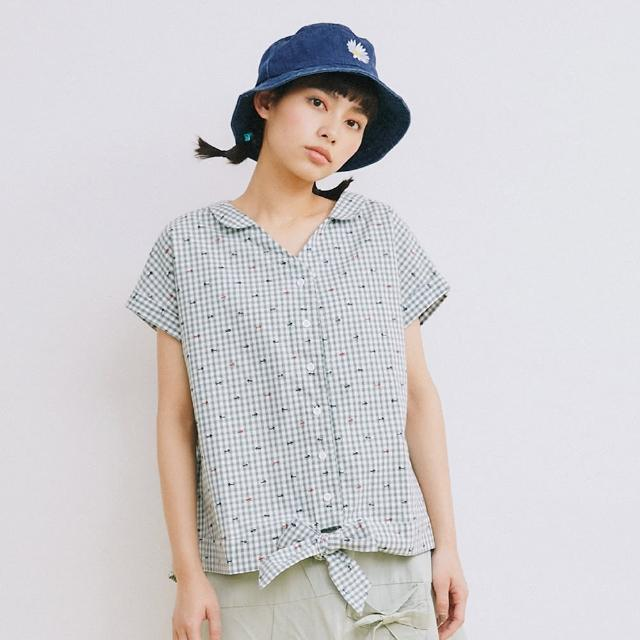 【Dailo】小V領印花-女短袖襯衫 印花 藍 綠(二色/版型合身)