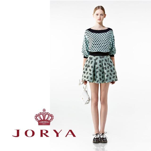 【JORYA】weekendH2001401莫蘭迪微光澤小鳳梨刺繡印花短裙