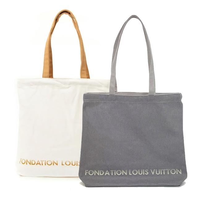 【Louis Vuitton 路易威登】LV 限量版博物館基金會帆布袋 白色