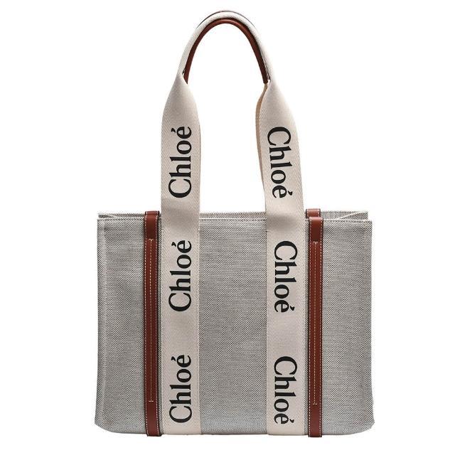 【Chloe' 蔻依】經典WOODY系列帆布手提/肩背包(中-棕色CHC21US383E6690U)