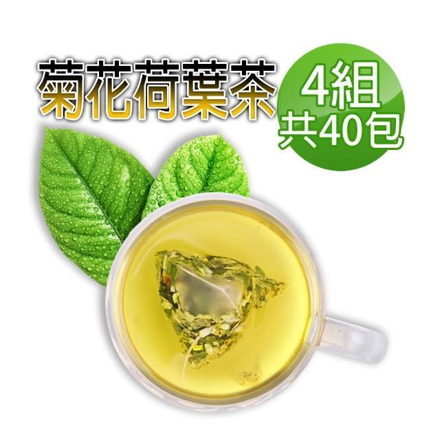 【蔘大王】台灣菊花荷葉降降茶(3D立體茶包)6gx10包/組X4組(降!降!降!很輕鬆/無咖啡因無茶鹼)
