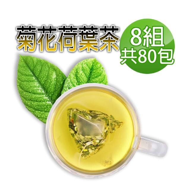 【蔘大王】台灣菊花荷葉降降茶(3D立體茶包)6gx10包/組X8組(降!降!降!很輕鬆/無咖啡因無茶鹼)