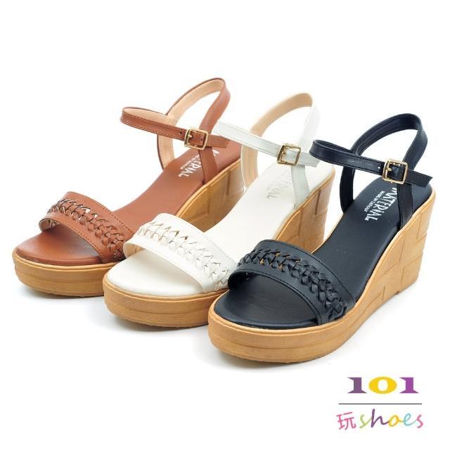 【101 玩Shoes】mit. 麻花編織木紋厚底楔型涼鞋(黑/棕/白.35-39碼)
