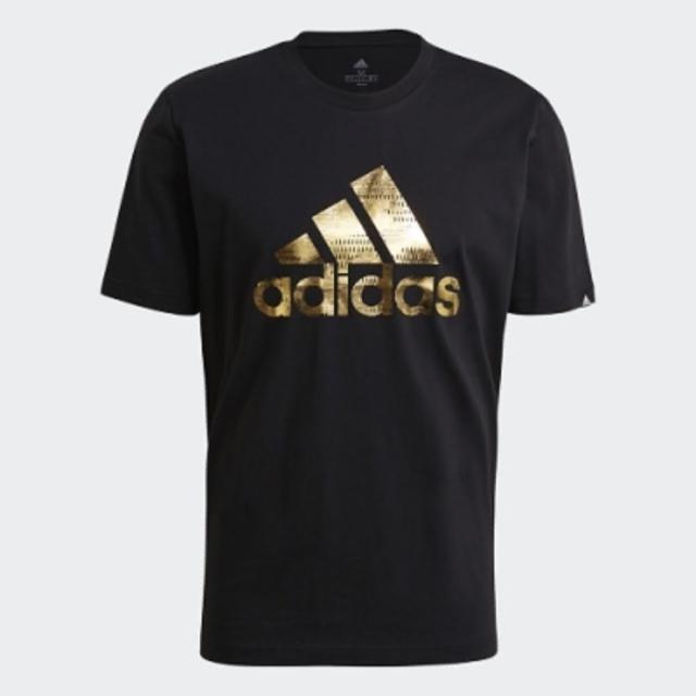 【adidas 愛迪達】ADIDAS NEO 男款黑金基本LOGO短袖上衣 GV2913