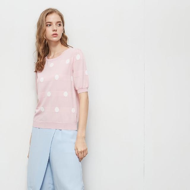 【KiKi】撞色點點圓領-女短袖針織衫 點點 藍 黑 粉(三色/版型適中)