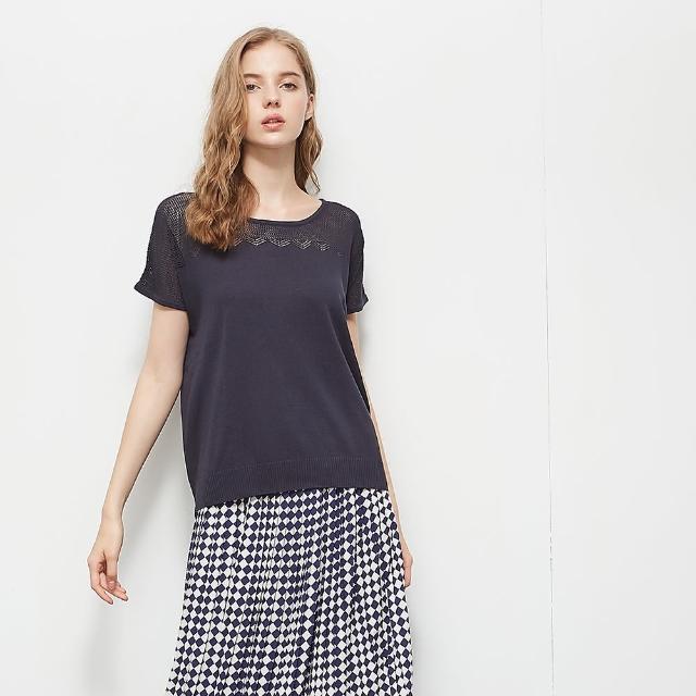 【KiKi】微透膚造型巧思-女短袖針織衫 透膚 藍 綠 灰(三色/版型適中)
