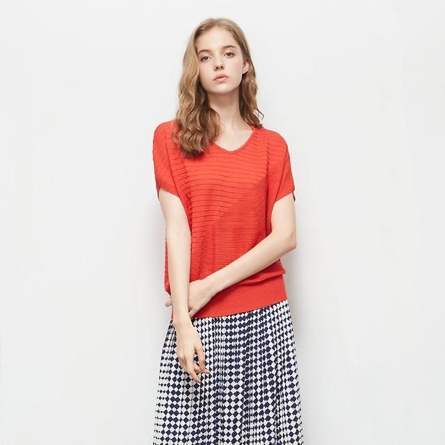 【KiKi】交叉線條V領-女短袖針織衫 線條 藍 黑 紅(三色/版型適中)