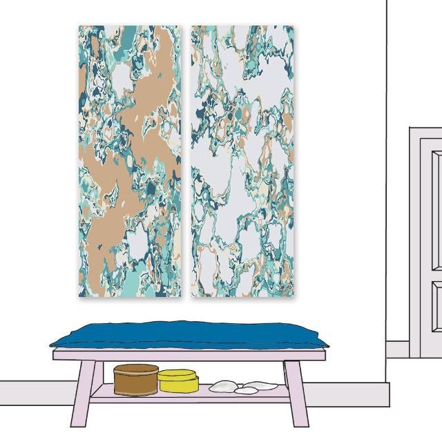 【24mama 掛畫】二聯式 油畫布 水磨石 紋理 花崗岩 鵝卵石 顏色 藝術設計 無框畫-30x80cm(流體大理石)