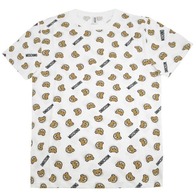 【MOSCHINO】經典泰迪熊印花圖案個性棉短T恤(白)