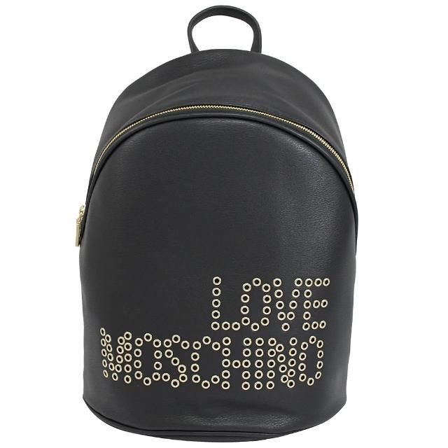 【MOSCHINO】LOVE MOSCHINO 鉚釘LOGO皮革手提旅用大後背包(黑)