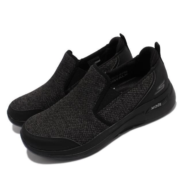 【SKECHERS】休閒鞋 Go Walk Arch Fit 男鞋 健走鞋 專利鞋墊 避震 緩衝 回彈 套入式 黑(216183-BBK)