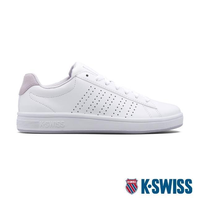 【K-SWISS】時尚運動鞋 Court Casper-女-白/粉紫(95586-121)