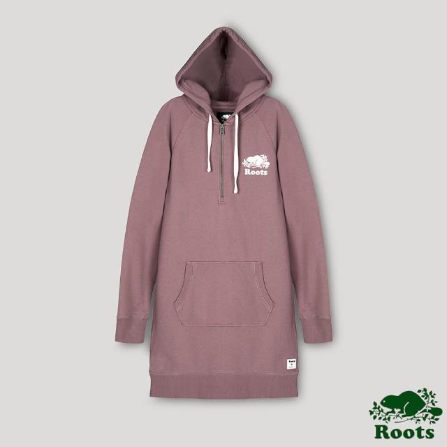 【Roots】Roots女裝- 經典海狸LOGO連帽洋裝(暗紫色)