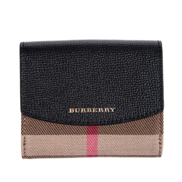 【BURBERRY 巴寶莉】經典格紋小牛皮折疊短夾(黑色)