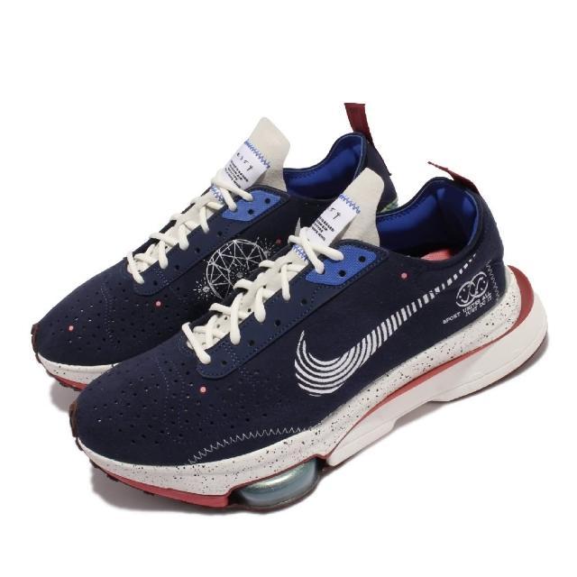 【NIKE 耐吉】休閒鞋 Air Zoom-Type 運動 男鞋 解構美學 潑墨 避震 避震 塗鴉 穿搭 白 藍(DM5448-411)