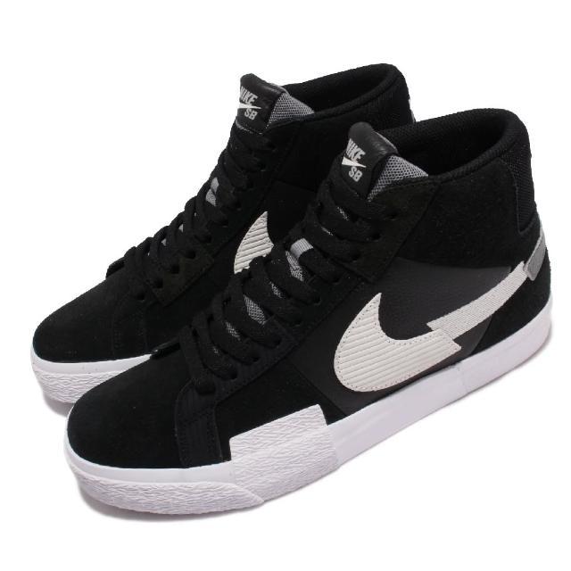 【NIKE 耐吉】滑板鞋 Zoom Blazer Mid 男女鞋 SB 異材質拼接 氣墊 避震 情侶款 黑 白(DA8854-001)