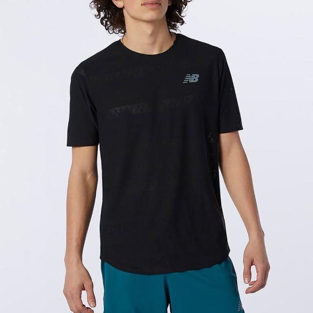 【NEW BALANCE】NB 上衣 男款 短袖上衣 運動 慢跑 吸排 黑 AMT13277BK