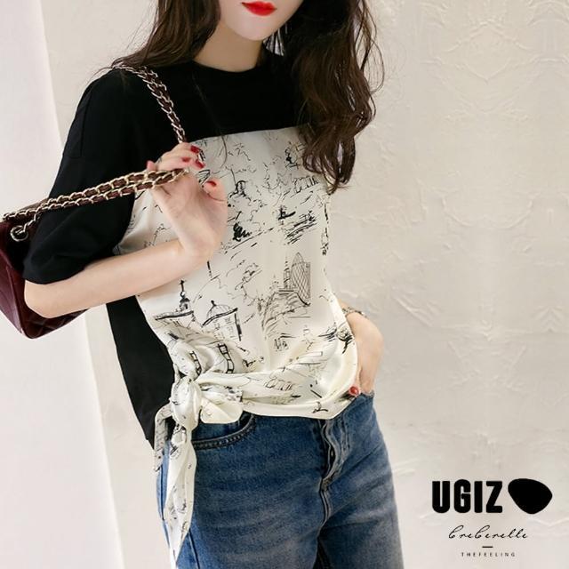 【UGIZ】修身圓領繫帶收腰復古氣質撞色圖案造型上衣(M-XL)