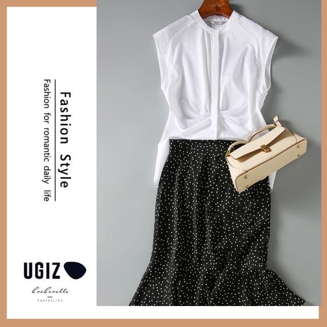 【UGIZ】修身氣質百搭甜美無袖純色立領造型上衣(M-XL)