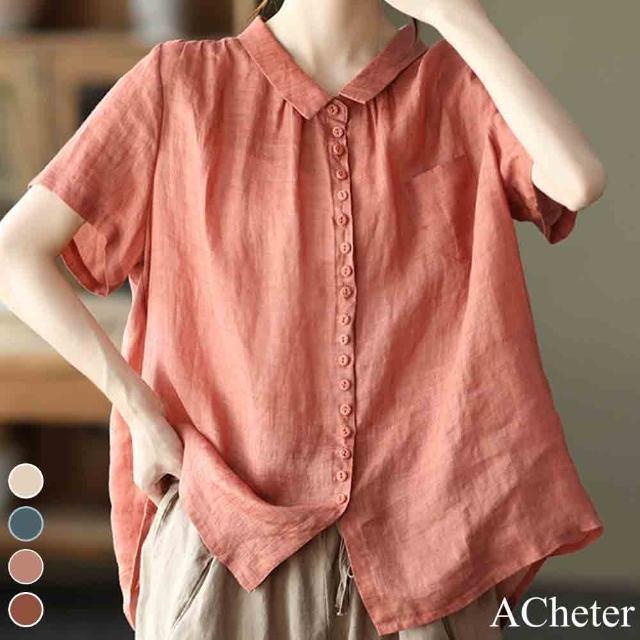 【ACheter】漫步輕盈寬鬆薄款翻領襯衫短袖上衣#110093現貨+預購(4色)