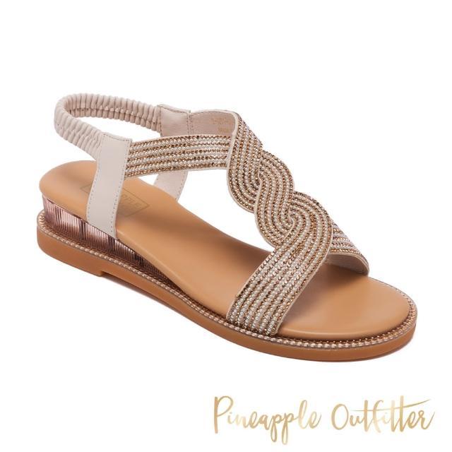 【Pineapple Outfitter】IANNA 舒適牛皮亮鑽涼鞋(棕色)