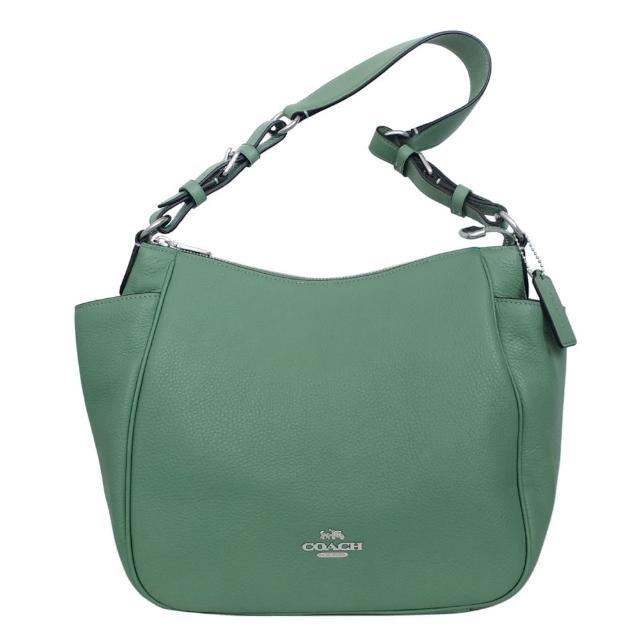 【COACH】荔枝紋全皮多口袋扇形肩背包(水洗綠)