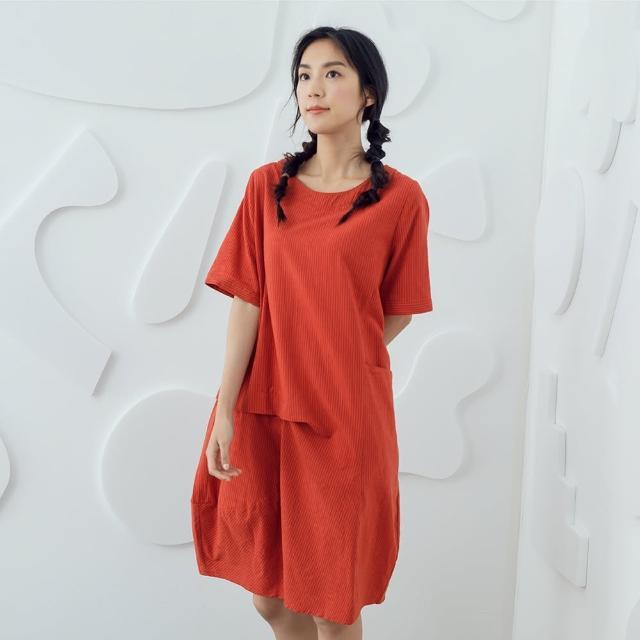 【MOSS CLUB】圓領直條打褶洋裝-女洋裝 條紋 藍 桔(二色/版型合身)