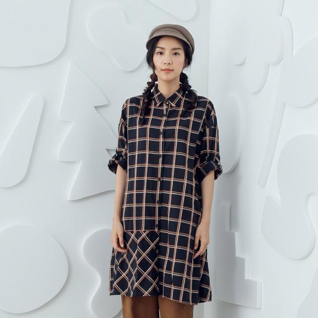 【MOSS CLUB】格紋A-LINE-女長洋裝 格紋 藍 灰(二色/魅力商品/版型寬鬆)