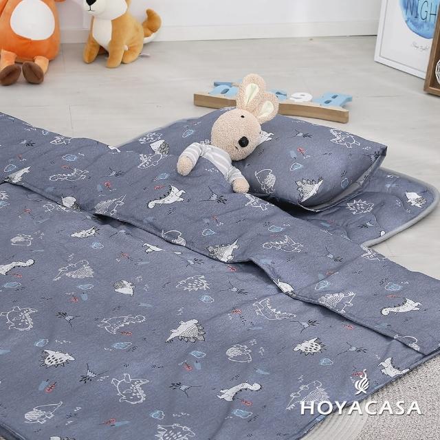 【HOYACASA】吸濕排汗天絲兩用被兒童睡墊三件組(恐龍)