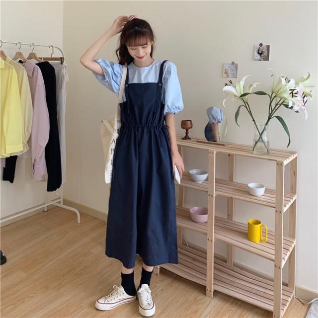 【BBHONEY】韓版中長款寬鬆吊帶背帶裙(網美熱搜款)